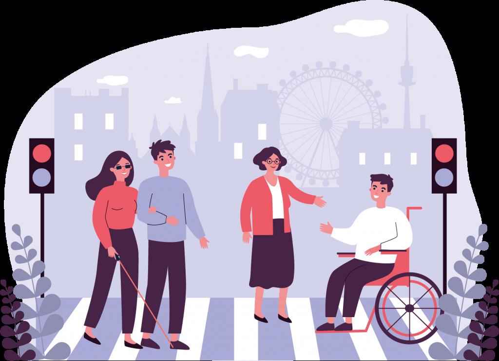 Menschen in Wien. Eine blinde Frau mit Taststock geht mit einem Mann über einen Zebrastreifen. Eine Frau spricht mit einem Mann im Rollstuhl